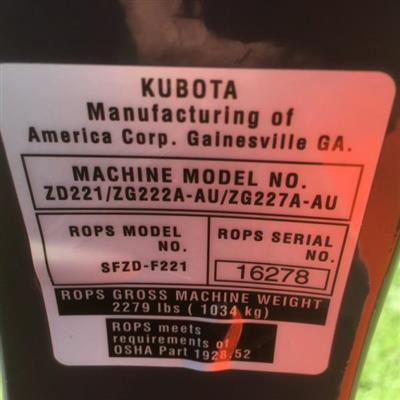 Photo 5. KUBOTA ZG222 lawn mower